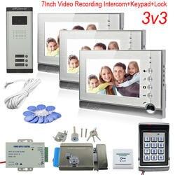 3 квартиры Монитор видеодомофона поддержка фотографировать/Видео Запись видеовызов для двери Клавиатура доступа Rfid код функция