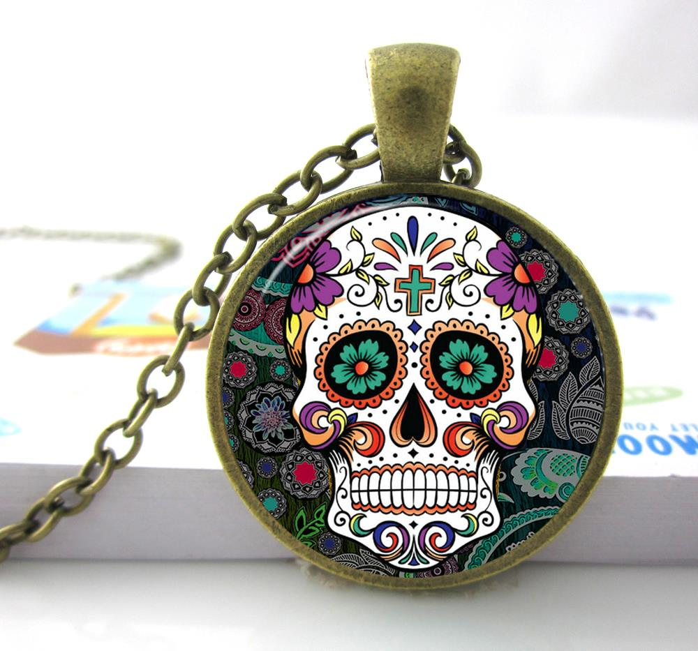 product haus harford necklace steampunk pendant skull black sugar with chain style women pattern statement fanhua round colorful