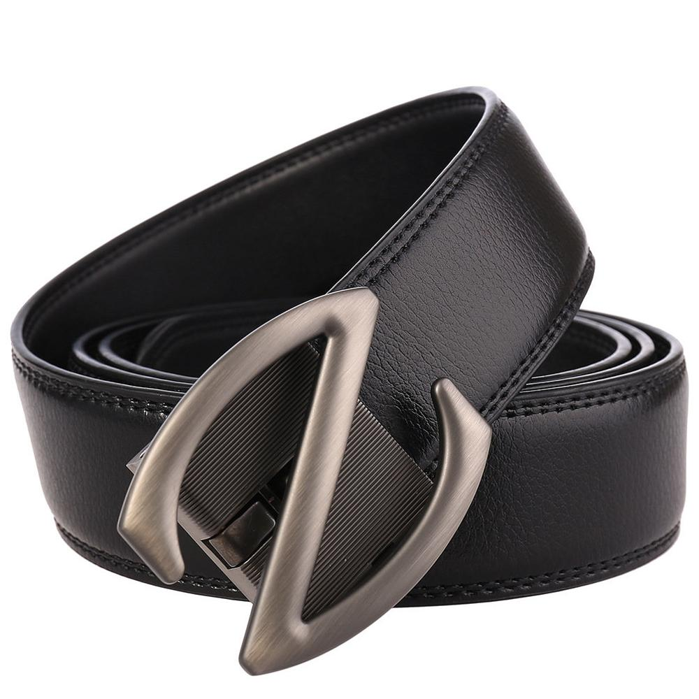 Fashion Men Belt Cow Genuine Leather Waist Belt Automatic Buckle Casual Belt for Men Z Designer Luxury Black Belts in Men 39 s Belts from Apparel Accessories