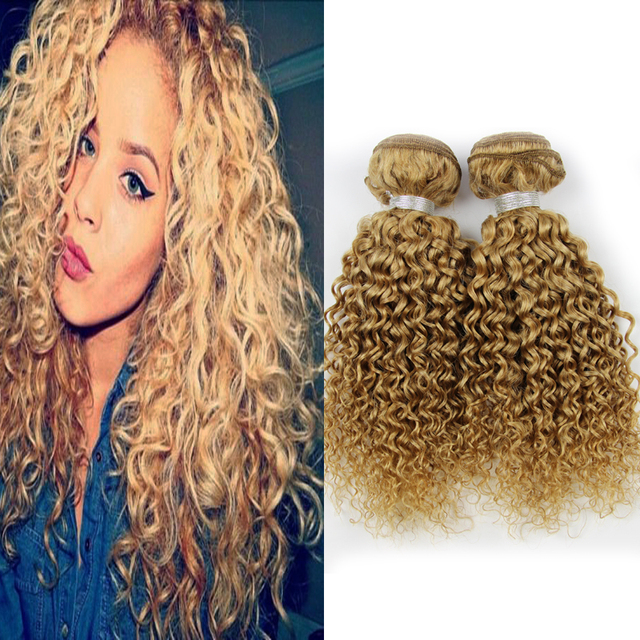 Blonde Brazilian Hair Kinky Curly Virgin Hair 3 Bundles Honey Blonde