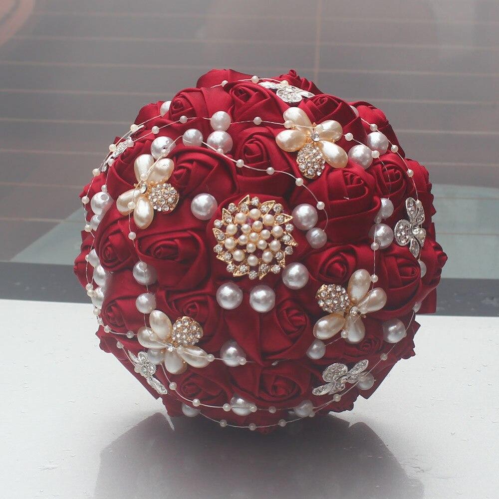 AYiCuthia Wine Red With Diamonds Holding A Ribbon Ribbon Simulation Rose Decoration Bride Wedding S157