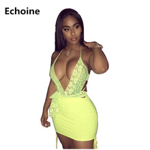 Summer Women 2 Piece Set Sexy Lace Bodysuit Spaghetti Strap Bodysuit anD Mini Skirt Slim Bodycon Club Outfit Party Skirt Set цены