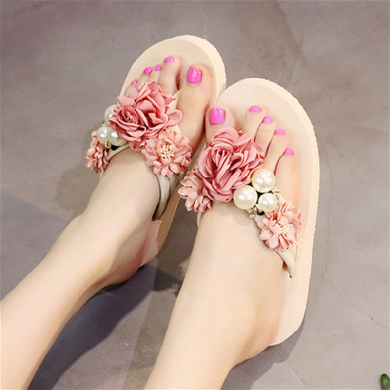 Summer Beach Slippers Women 2018 3CM Flat With Sandals Wedge Flip Flops Sapato Feminino Boho Slippers Sandalias Chanclas new women sandals sapato feminino handmade genuine leather flat shoes wedge flip flops beach women slipper shoes sandalias mujer