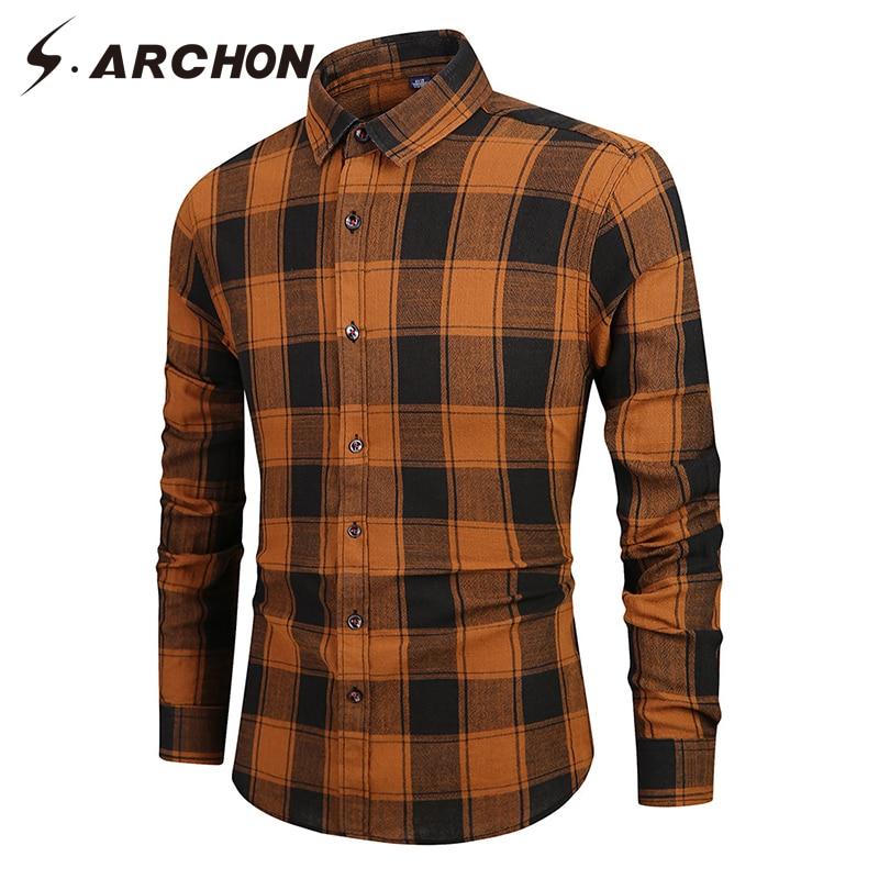 S.ARCHON Casual Plaid Men Shirt Slim Fit Fashion Autumn Spring Long Sleeve Shirts Soft Fashion Vintage Shirt Male Clothes Coat