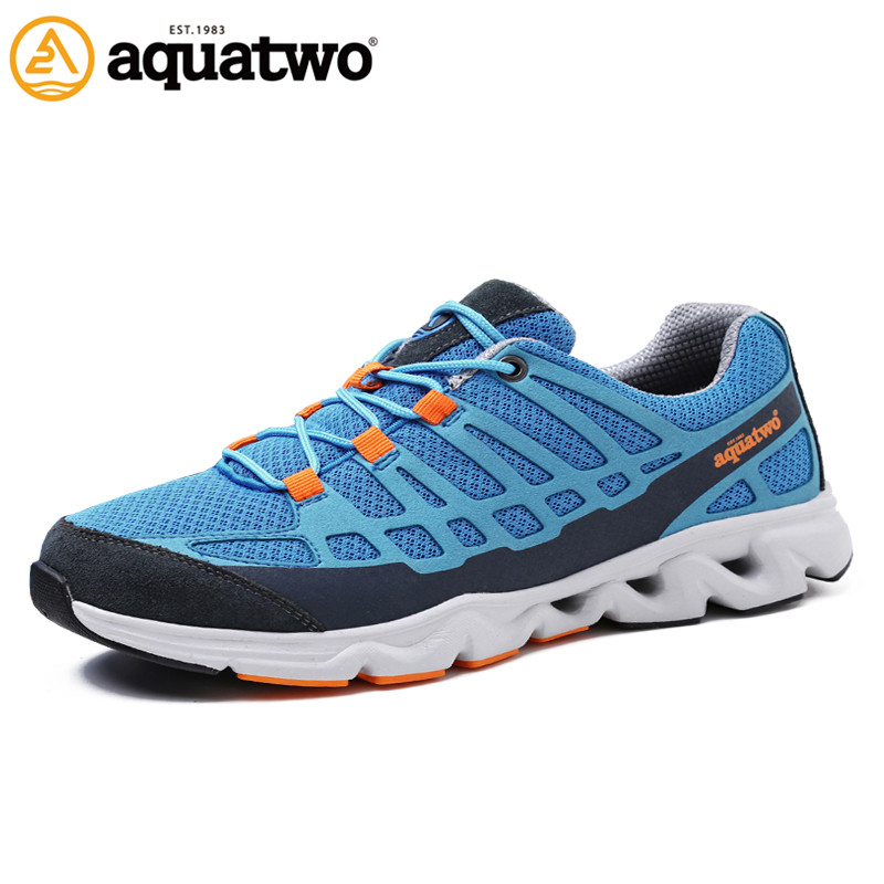 2017 New Men Outdoor Shoes Aquatwo Brand Summer Mesh Lace Up Flat With Breathable Lighted Walking Shoe US6.5-10# Shoes Men Brand men casual shoes lace up mesh men outdoor comfortable shoes patchwork flat with breathable mountain shoes 259