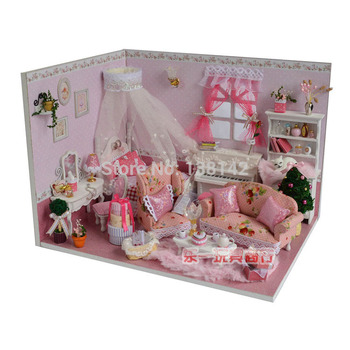 DIY dollhouse bedroom miniature doll house Wooden cute room Building Model Furniture Birthday Gifts V005
