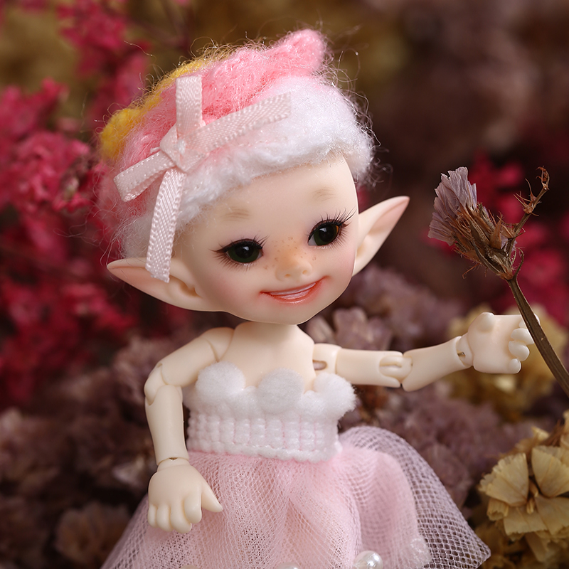Realpuki Popo FreeShipping Fairyland FL  BJD Doll 1/13 Pink Smile Elves Toys For Girl Tiny Resin Jointed Doll