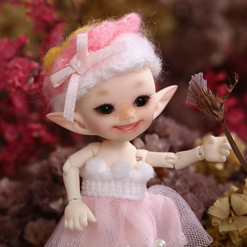 Oyuncaklar ve Hobi Ürünleri'ten Bebekler'de Realpuki Popo Ücretsiz Kargo Fairyland FL BJD Bebek 1/13 Pembe Gülümseme Elfler Oyuncaklar Kız için Küçük Reçine Eklemli Bebek'da  Grup 1
