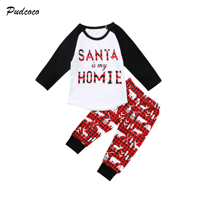 2017 Christmas Toddler Kids Boy Girl Xmas Clothes Santa is My HOMIE Long Sleeve T Shirt Tops+Deer Pant 2PCS Outfits Clothing Set my christmas cd