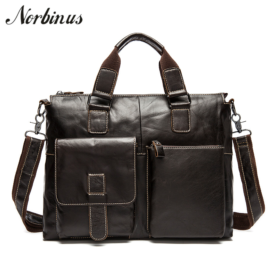 Norbinus Men Briefcase Genuine Leather Laptop Computer Briefcases Male Cowhide Business Messenger Shoulder Crossbody Bag Handbag high capacity men handbag cowhide genuine leather bags messenger shoulder bag cross body male business briefcase laptop pack