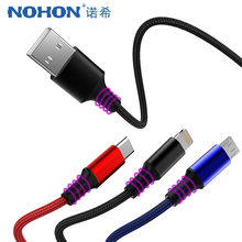 цена на NOHON 3 in 1 Charger Cable Micro USB Type C  8Pin Lighting Cables For iPhone X 8 XS MAX XR 7 6 6s Plus For Xiaomi Huawei Samsung