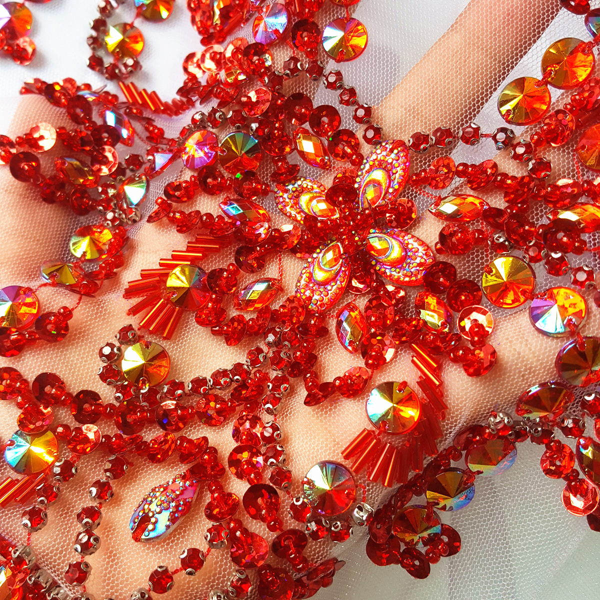 REd Goddess Beaded Rhinestones Sequins Beads Applique Crystals Patches  29x39cm Sewing For Wedding Evening Dress Decoration Craft-in Patches from  Home ... a2d4cc94f3b4