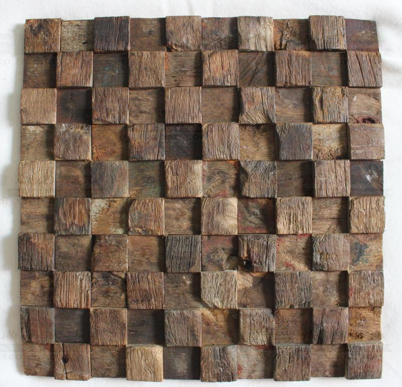 3D Natural wood mosaic tile wood mosaics kitchen backsplash tile ancient wood mosaic wall tiles wood mosaic tile panels