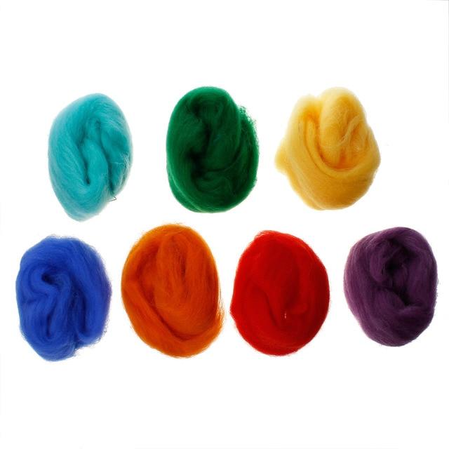 "Wool Felt Woolen Needle Poke DIY Kits Accessories 7 Colors 20cm(7 7/8"") long, 1 Set"
