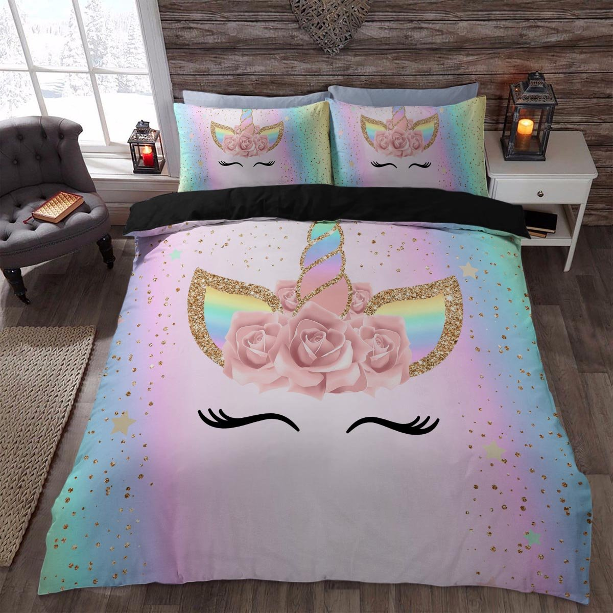 Unicorn Rainbow Colors 3d Bedding Sets Printed Duvet Cover