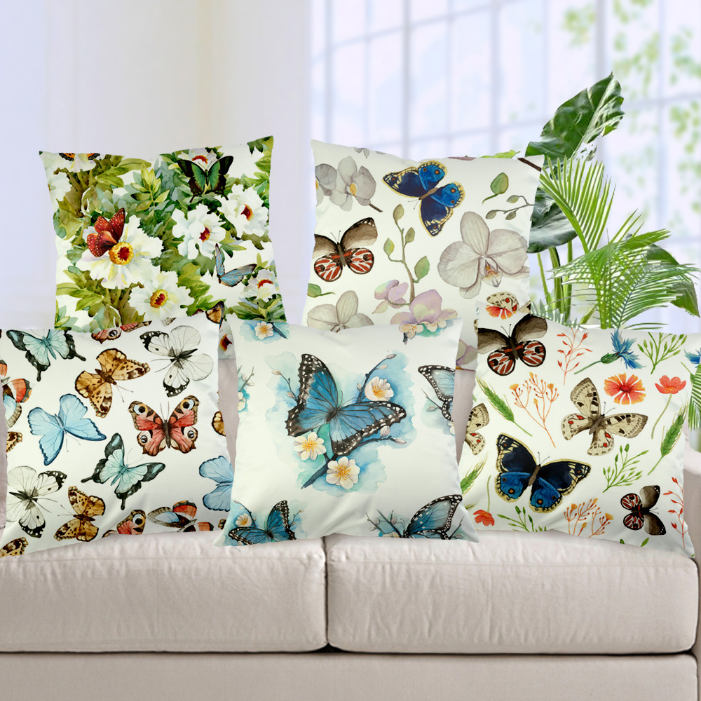 Sofa Fabric Protection Colorful Butterfly Silk Like Fabric Cushion Cover Flower