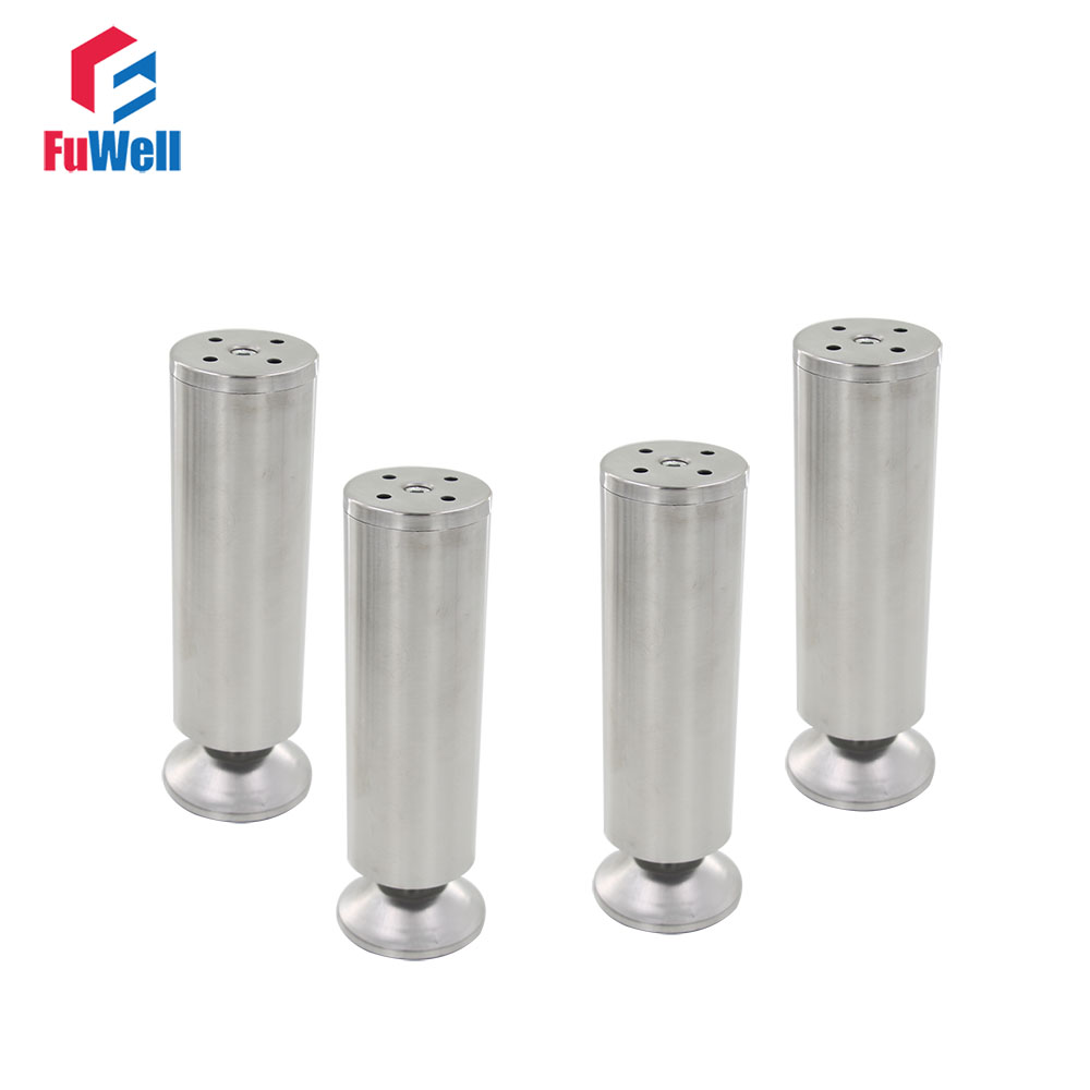 4pcs 200mm Height Adjustable 10-15mm Furniture Legs Cabinet Feet Silver Tone Stainless Steel Table Bed Sofa Leveling Foot bqlzr 150x63mm square shape silver black adjustable stainless steel plastic furniture legs sofa bed cupboard cabinet table bench