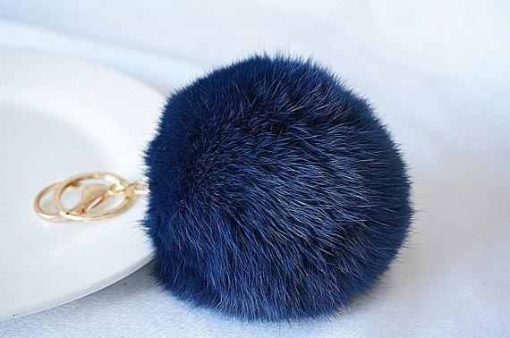 872fdc07557b Navy Fur Ball Keychain  Cute Pom Pom Bag Charms Dark Blue Deep Blue Genuine  Fluffy Fur Key Ring Charms Car Keys Ring Accessories