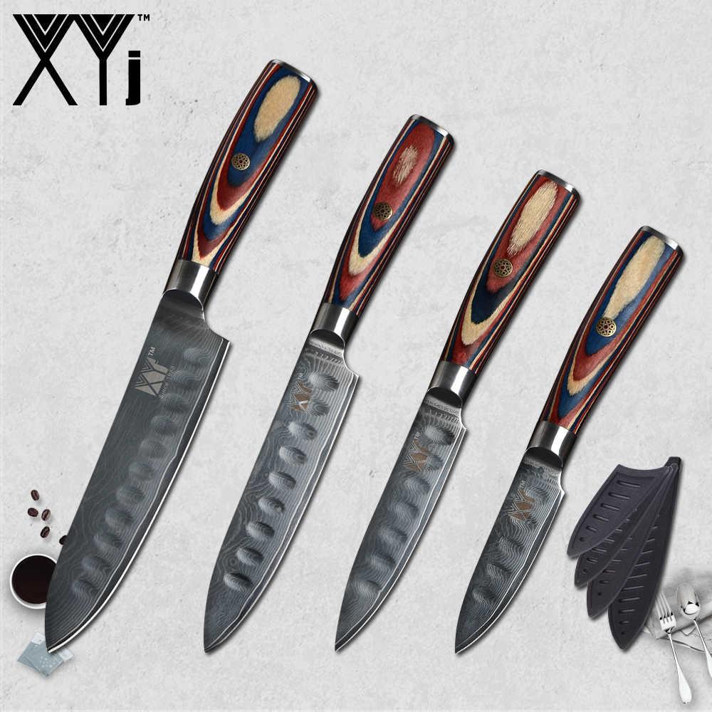 """XYj Japanischen VG10 Damaskus Stahl Küche Messer High Grade 3 """"4"""" 5 """"6"""" Farbe Holz Griff damaskus Messer Abdeckungen und Messer Halter"""