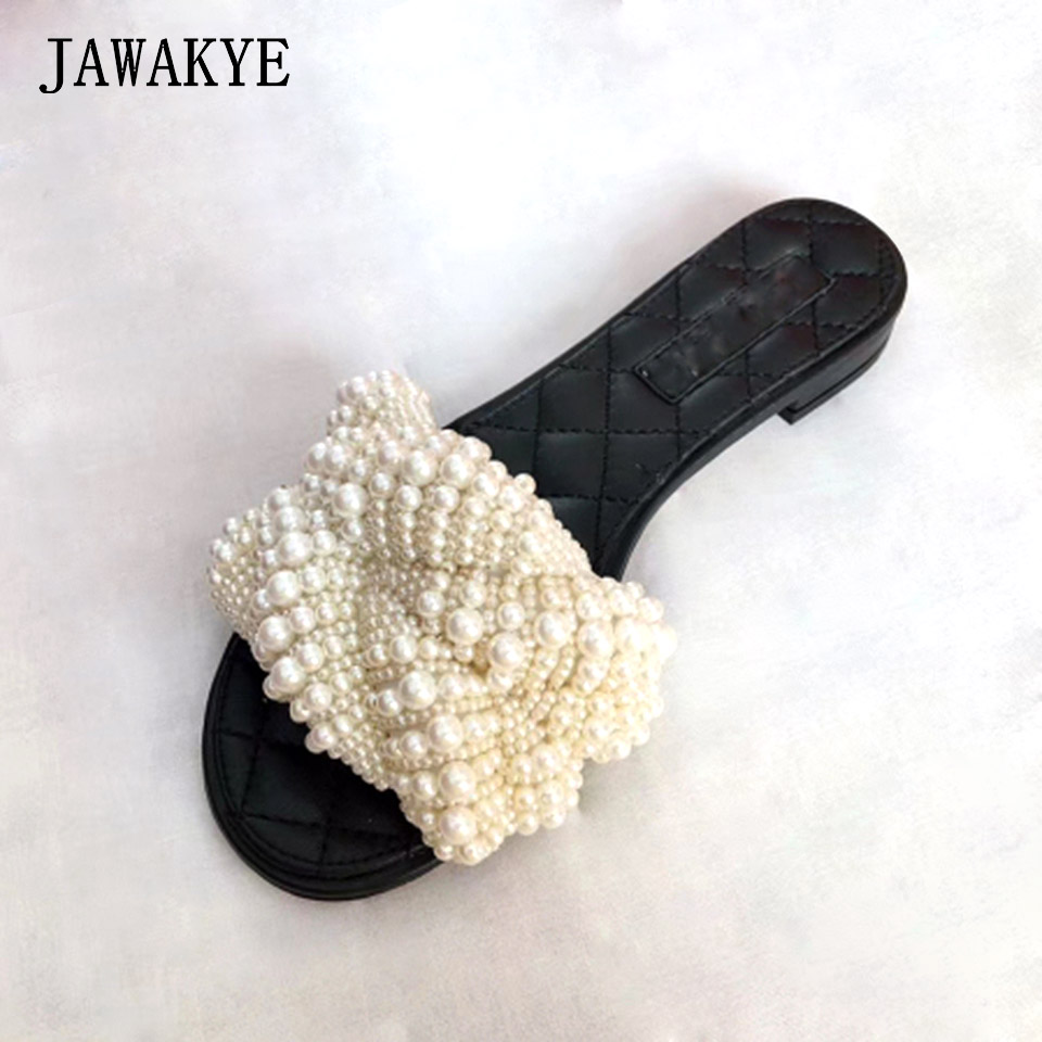 Genuine leather Flats round peep toe women Pearls Flat Slippers Outdoor Mules Flip Flop Beads Slides Beach Shoes Woman Sandalet