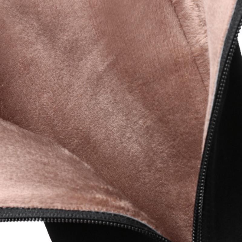 45 Rivet Talons Taoffen Cuir Femmes Bottes Chaude Taille Footwears Hiver À Fourrure Noir Hauts 31 En Froid Zipper Genou Véritable Chaussures E4w4qP1x