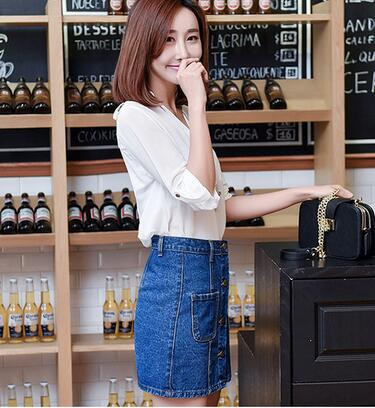 30pcs/lot fedex fast free shipping Fashion Women Denim Blue Pocket Button A-Line denim skirt solid casual short skirt