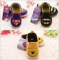 2015 Nueva primavera otoño zapatos de bebé de la marca baby boys superman niños de dibujos animados zapatos tenis infantil bebe primeros zapatos de los caminante