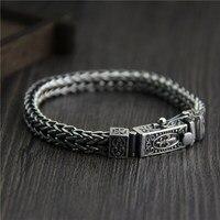C&R Real 925 Sterling Silver bracelet woven dragon bone link chain bracelets for men male retro Thai Silver Fine Jewelry
