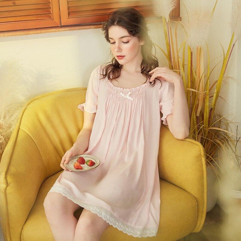 2019 Spring Summer Women Cotton Nightdress Female Lace Sleepwear Sweet Princess   Nightgown   Bowknot Elegant   Sleepshirts