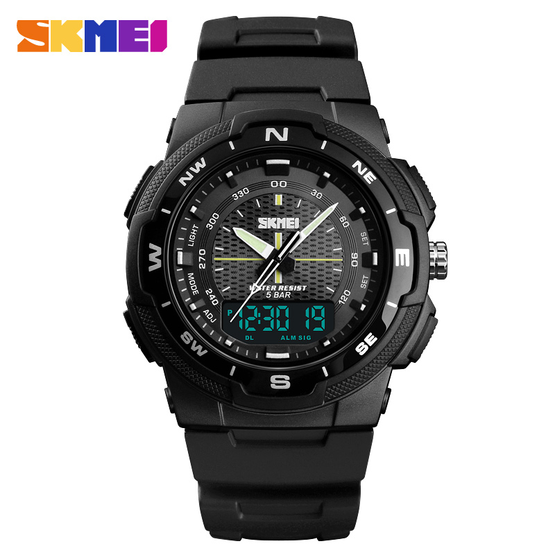 New SKMEI Men's Sports Watches Luxury Dual Display Quartz Clock Men 50M Waterproof Military LED Digital Electronic Wrist Watches