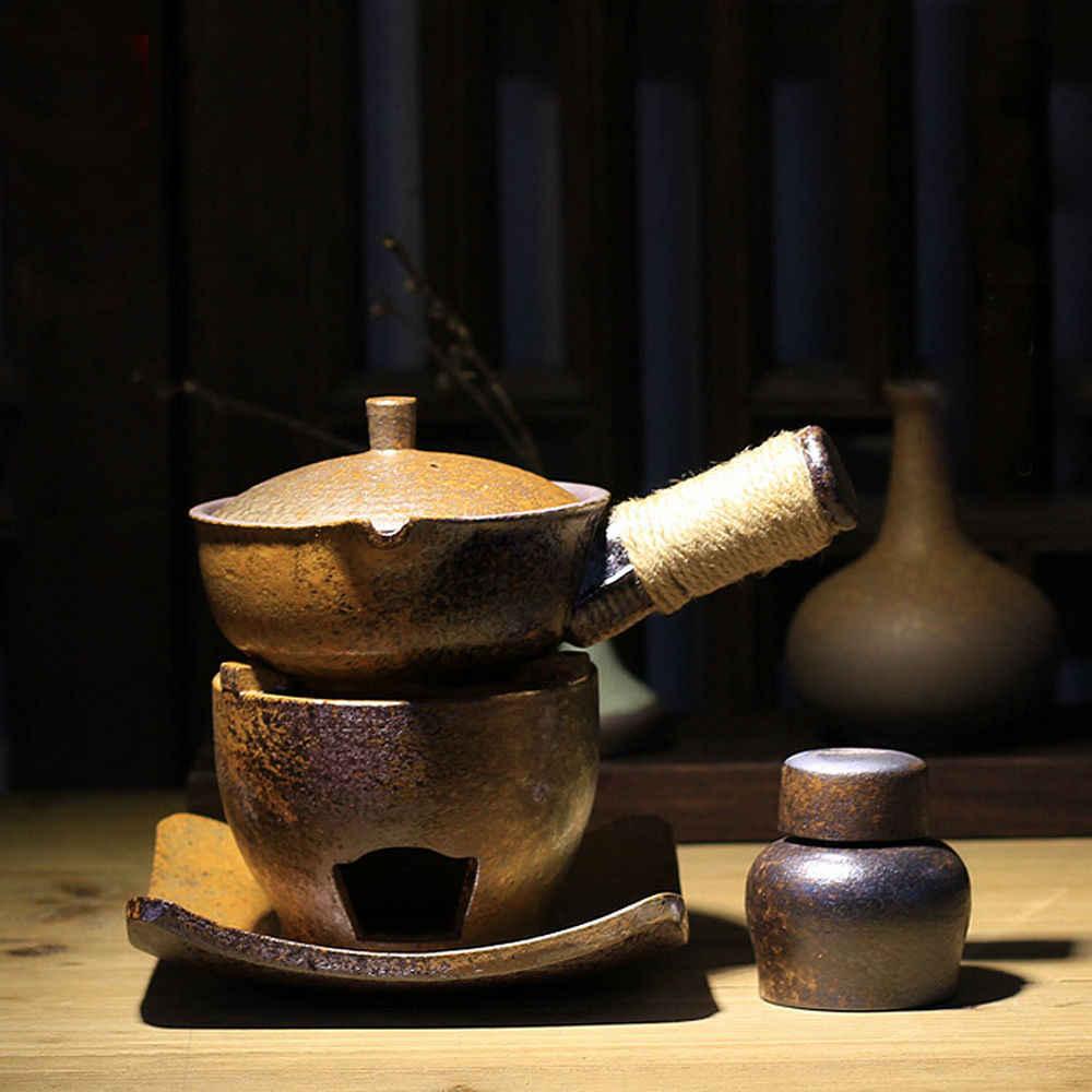 Керамическая Боковая ручка чайник с фитиль для спиртовки Подставка под благовония кунгфу набор для приготовления чая