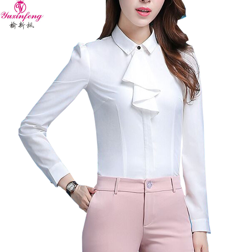 Yuxinfeng Ladies White Office Shirts Solid Plus Size Casual Formal Elegant Work Blouse W ...