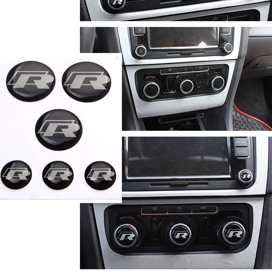 R переключатель значок эмблема наклейка смолы, пригодный для гольф mk7 7 кнопка стерео Радио набор из 6 автомобиль для укладки автоматический аксессуары автомобиль крышки