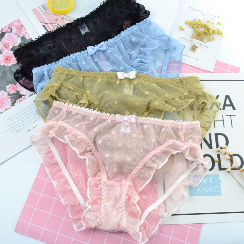 SP&CITY European Dot Embroidered Bow Lace Panties Women Sexy Hollow Out Underwear Transparent Female Lingerie See Through Thongs