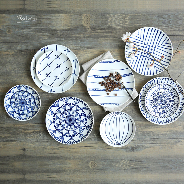 kitchen plates rolling island for japanese ln glaze decoration ceramic dishes and white restaurant dinner cake fruit dish 8 inch