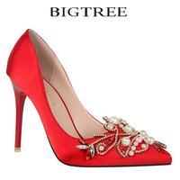 Bigtreeปั๊มยี่ห้อสตรีคริสตัลปั๊มAppliqueมุกแหลมนิ้วเท้ากริชบางส้นรอง