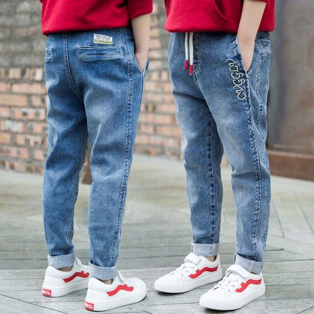 กางเกงยีนส์เด็กสบายๆฤดูใบไม้ผลิฤดูใบไม้ร่วงกางเกงยีนส์เด็กแฟชั่นวัยรุ่นกางเกงยีนส์อายุ 4 5 6 7 8 9 10 11 12 13 14 16 ปีเด็กเสื้อผ้าเด็ก