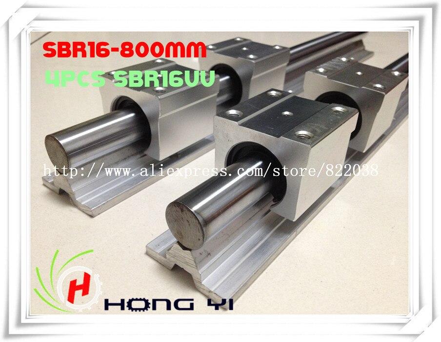 2 шт. SBR16 L = 800 мм линейные рельсы 4 шт. SBR16UU прямой линии Motion блок для SFU1605 мяч винт (можно вырезать любой длины)