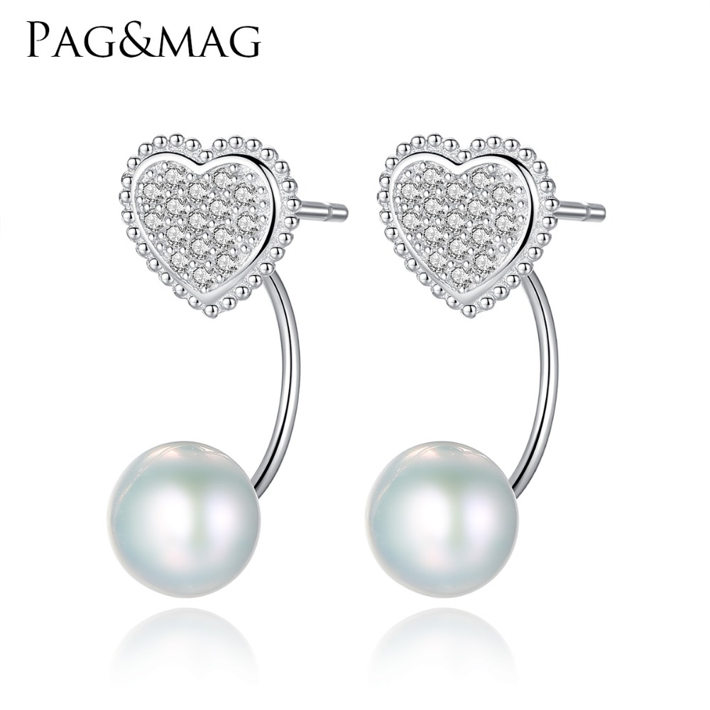 PAG&MAG Brand Love Heart 925 Sterling Silver Stud Earrings with Natural Pearl Romantic Fine Jewelry Women Earring Silver FactoryPAG&MAG Brand Love Heart 925 Sterling Silver Stud Earrings with Natural Pearl Romantic Fine Jewelry Women Earring Silver Factory