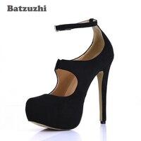 Batzuzhi Platform Pumps Women Sexy Extremely High Heels Shoes Bridal Stiletto Black Ladies Wedding Party Shoes Leather Pump, 40