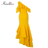 Kinikiss 2017 Women Club Dress 11 11 Shopping Festival Sexy Bodycon Asymmetric Backless One Shoulder Elegant