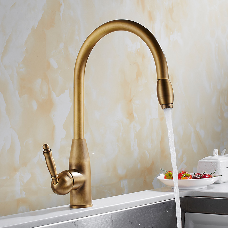 Kitchen faucet, New style antique kitchen faucet, hot and cold wash vegetable basin faucet, single hole rotate faucetKitchen faucet, New style antique kitchen faucet, hot and cold wash vegetable basin faucet, single hole rotate faucet