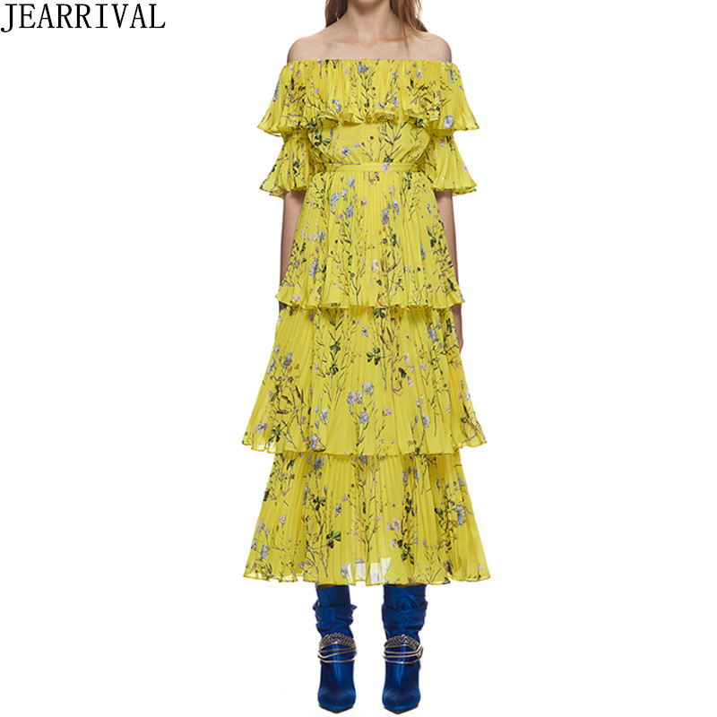 Vintage jaune Floral robe 2018 nouvelle mode femmes Sexy Slash cou volants été robe décontracté plage Boho longue robe Vestidos