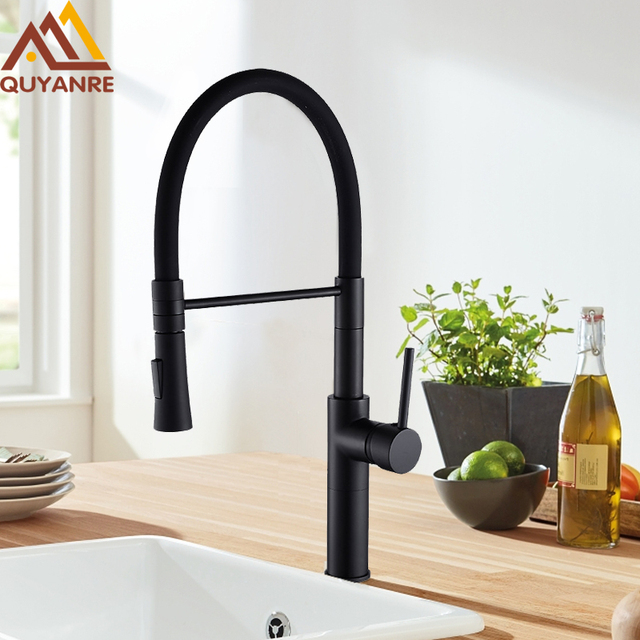 Quyanre Matte Black Chrome Kitchen Faucet Pull Down Sprayer 360