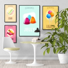 Nordic Posters and Prints Fantasy Fresh Cute Pink Ice Cream Candy Canvas Painting for Coffee Shop Decoration Wall Art Picture