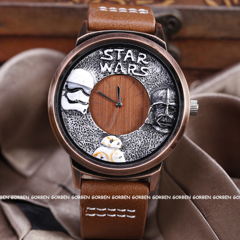 Vintage Movie STAR WARS Creative Quartz Watch Mens Womens Leather Strap Wristwatches Star Wars Fans' Gifts Dropship star wars purse high quality leather