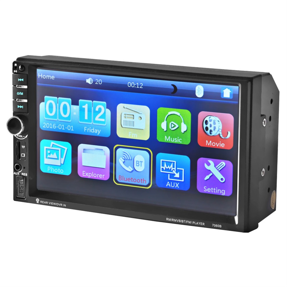 Cimiva 7 inch Bluetooth Vehicle Auto Car MP5/MP4/MP3 Video Player In Touch Screen Support MP3 USB TF AUX FM & Remote Control 12V