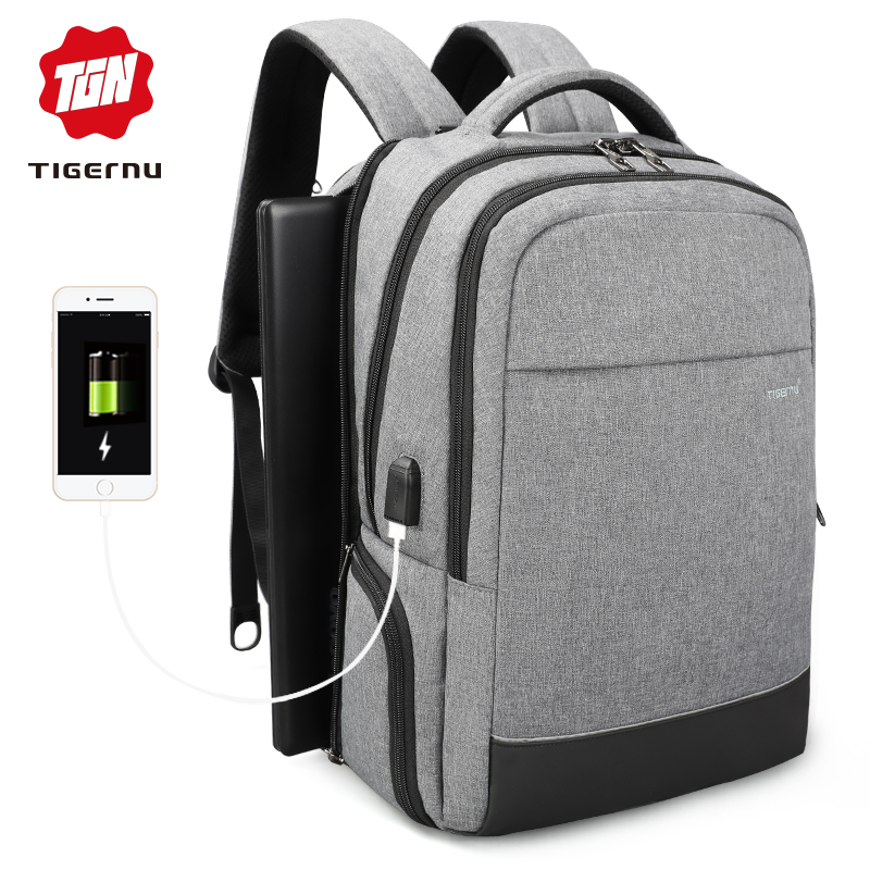 Tigernu New Male Business Laptop backpack Fashion Leisure Style Anti theft Waterproof Zipper men bag for