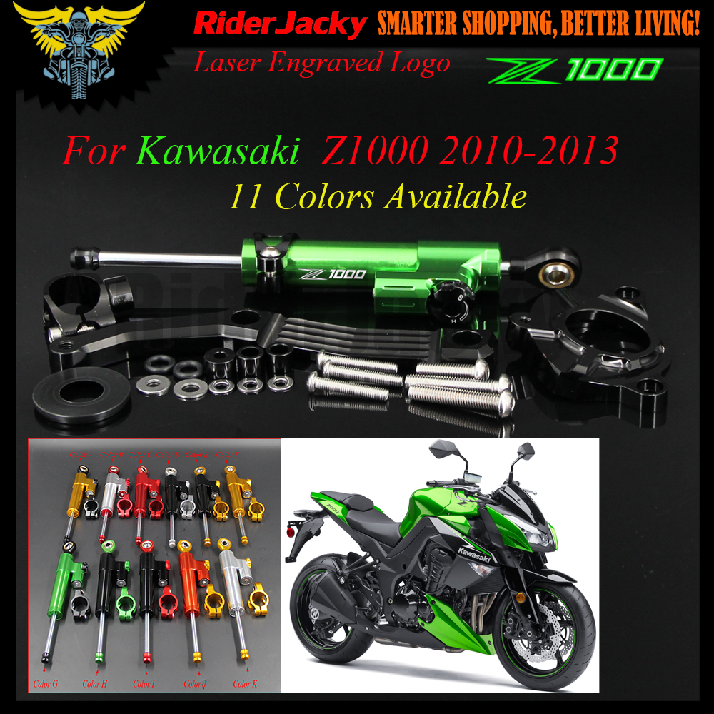 CNC Adjustable Motorcycle Linear Reversed Steering Damper with bracket Support For Kawasaki Z1000 Z 1000 2010