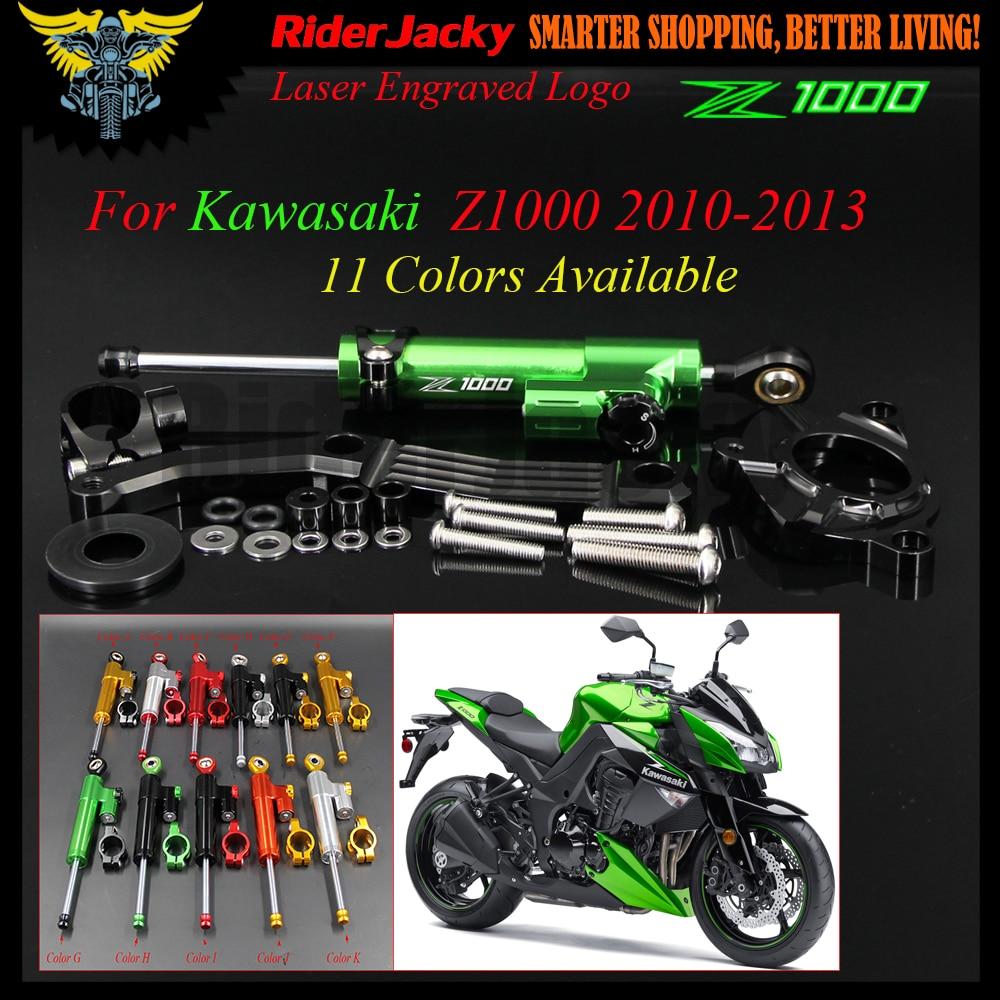 Amortisseur de direction inversé linéaire de moto réglable de CNC avec Support pour Kawasaki Z1000 Z 1000 2010-2013 2011 2012